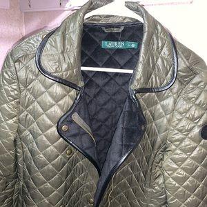 Olive green Ralph Lauren winter coat.